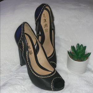 BNWT Black Leather Peep Toe Heels By LAMB